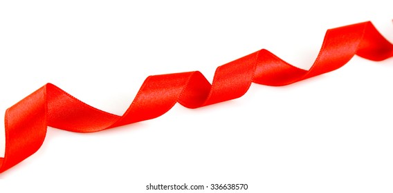 Pink curly ribbon isolated on white