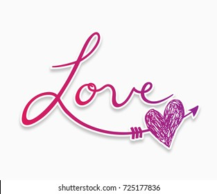 Pink Cursive Love Hand Lettering With Heart