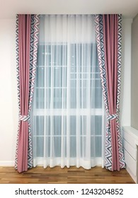 pink curtain with black for blackout and white pattern and white transparent sheer sheet for window