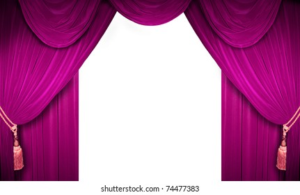 Pink curtain of a classical theater