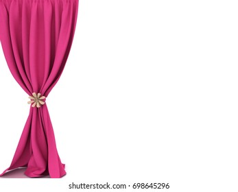 pink curtains. 3d illustration.