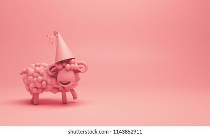 Pink cute cartoon sheep smile wearing party hat. Design creative concept of islamic celebration eid adha or happy birthday.
