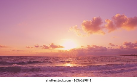 Pink daybreak sea. The beach view of the Baltic Sea, the orange sun moves the horizon, amazing fluffy clouds touch the sun. Beautiful view from beach to the pink daybreak sea. Nice sea background