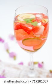 Pink Detox Drink of Strawberry, Cucumber and Lime, Idea for Infused Water, Detox Juice, Summer Drink, Party Drink