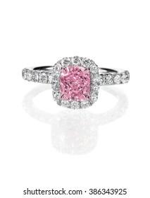 Pink diamond halo set cushion cut engagement wedding ring