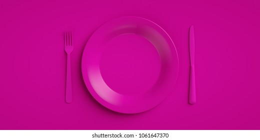 Pink dishes with cutlery 3d rendering