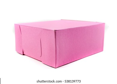 Pink donut box isolated on a white background