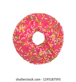 Pink donut with colorful sprinkles isolated on white background. Top view.