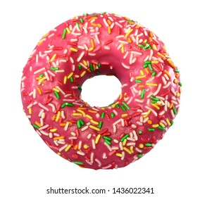 pink donut in the glaze, isolated on white background, tasty fresh watered glaze