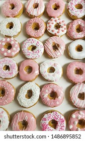 Pink donuts made at Mrs. Murphy's Donuts Southwick Massachusetts