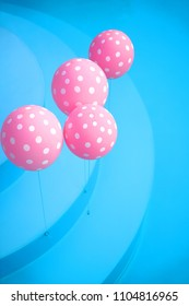 Pink dotted baloons in a pool