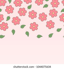 Pink dotted sakura flowers and leaves seamless border, vector background