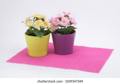 pink drawer liner with potted plant