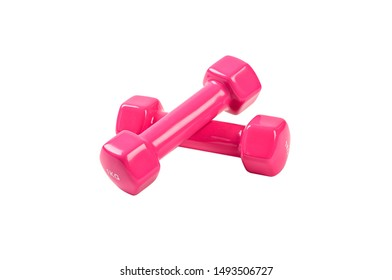 Pink dumbbell isolated on white background.
