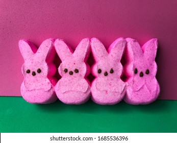 Pink Easter marshmallow peeps candy.