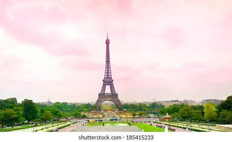 pink  Eiffel Tower in Paris, France