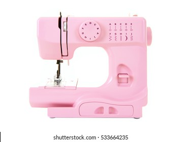 Pink Electric Sewing Machine on a white background