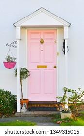 Pink English front door