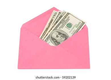 A pink envelope with cash in it isolated on a white background, gift of cash