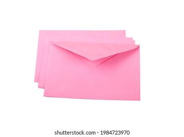 pink envelopes isloated on white background