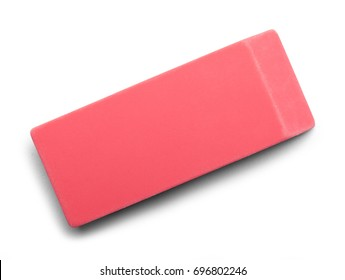 Pink Eraser Top View Isolated on White Background.