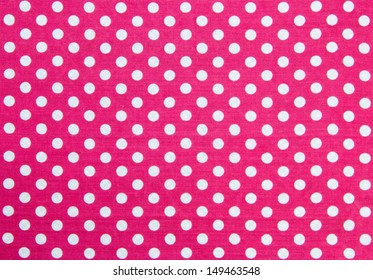 Pink Fabric and White Tiny Polka Dots Background