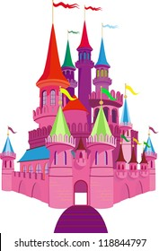 Pink Fairy-tale Princess Castle on white background. Raster version