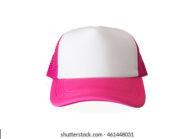 Pink fashion cap on isolated background. Sun protection sport hat for your brand and design.