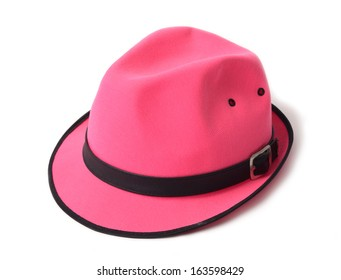 A pink fashion hat on white background.