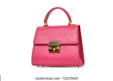 Pink fashion purse handbag on white background isolated