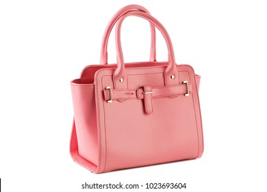 pink female bag on a white background isolated
