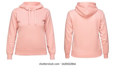 Pink female hoodie sweatshirt with long sleeve, women hoody with hood for your design mockup for print, isolated on white background. Template sport pullover front and back view