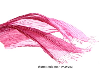 Pink female scarf isolated on white background
