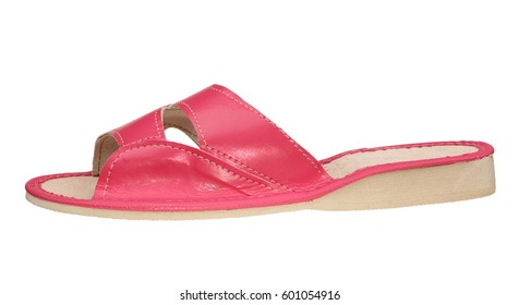 Pink female slipper isolated on white background. Side view.