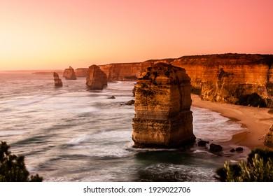 Pink filter, soft focus. Twelve Apostles Sea Rocks near Great Ocean Road , Port Campbell National Park, Australia