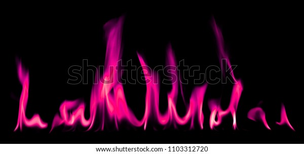 Pink fire and flames on black background