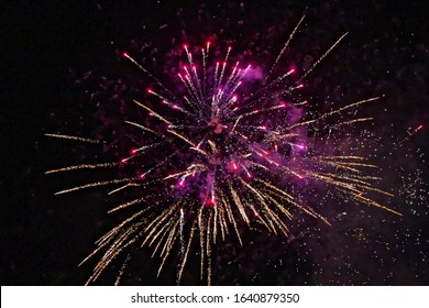 Pink fireworks in a June night
