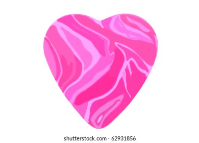 Pink flamed big heart isolated over white