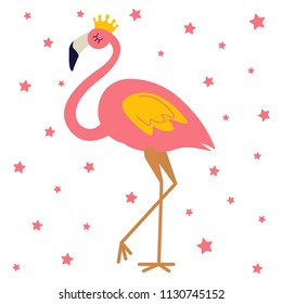 Pink flamingo with gold crown. Cute bird queen or princess illustration design