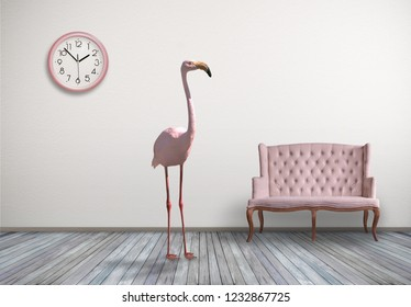 Pink flamingo in home room with pink sofa and wall clock, concept laconic decor