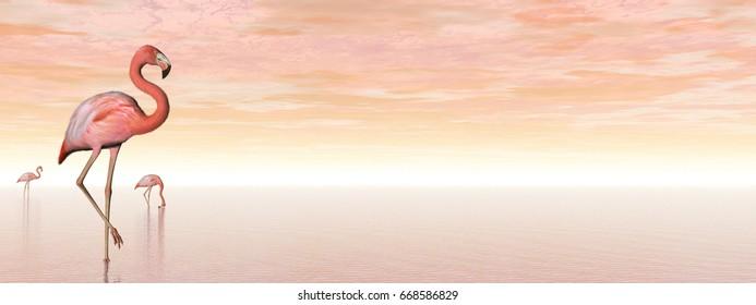 Pink flamingos - 3D render