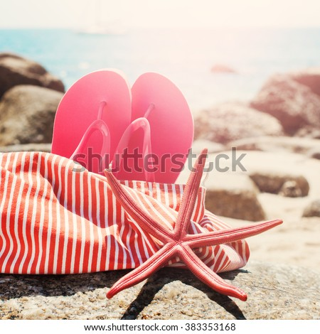 5cf7b3f96406a Pink Flip Flops Bag Starfish on Stone Beach Summer Holiday Concept Toned