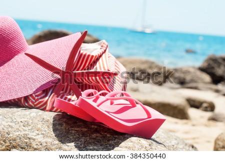 bc41f9fff7c22 Pink Flip Flops Bag Starfish on Stone Beach Coastline Sea Relax Summer  Holiday Concept