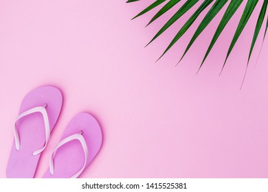 Pink flip flops shoes on pink background, top view, copy space. Toe sandals, flat lay, text place. Summer background with flipflop shoes and palm leaves