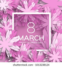 Pink Floral Greeting card - International Happy Women's Day. 8 March holiday background with paper cut Frame Flowers. Happy Mother's Day. Trendy Design Template. Vector illustration.