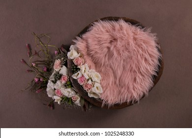 pink floral nest composite newborn photography girl digital background