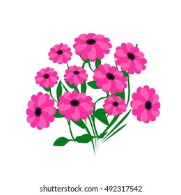 pink flower bouquet on white background illustration