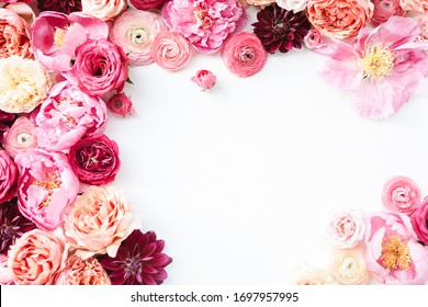 Pink flower frame with white background, peony, ranunculus, garden rose, dahlia, roses with red, peach, blush, magenta, fuchsia floral theme