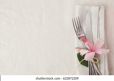 Pink Flower Table setting copy space background
