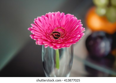 Pink flower in transparent glass with wedding rings